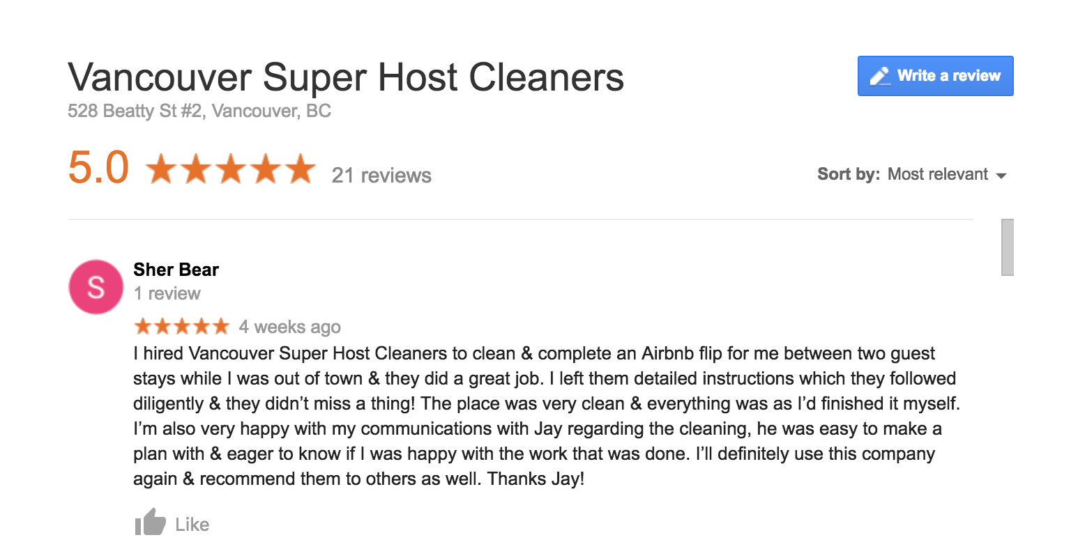 Airbnb Cleaning Reviews